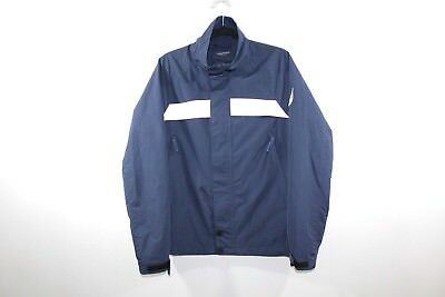 Vintage 90s NAUTICA Mens Small Full Zip Spell Out Sailing Jacket Coat Navy Blue