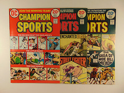 Champion Sports #1 #2 #3 1973-74 complet set DC all mid grade see pics