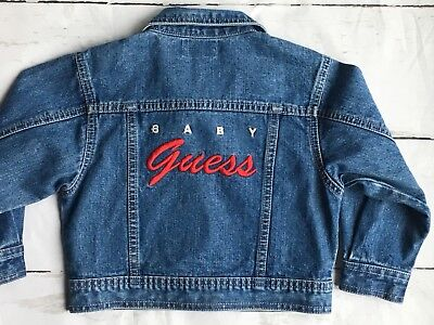 Jean jacket size 24 Months 2T Baby GUESS denim coat blue red jeans Toddler