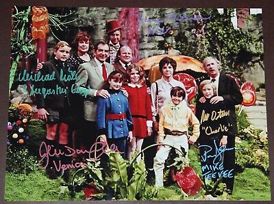 """11"""" X 14"""" Willy Wonka Family Portrait Autographed (Signed) By Five + Bonuses!!"""