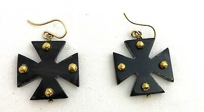 Ashley Pittman New Earrings Arba Bronze Studded Dark Horn Maltese Cross Drop