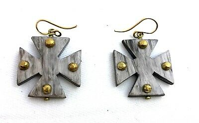 Ashley Pittman New Earrings Arba Bronze Studded Light Horn Maltese Cross Drop