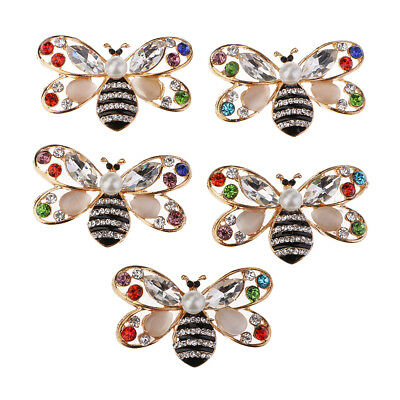 5 Unidades 25x41mm Crystal Rhinestone Color Bees Flat backs Adornos Botones