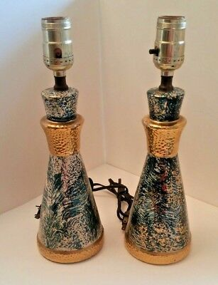 Vintage Bedside Table Lamps Mid Century Spatter Green Gold Ceramic Pair 2 Lamp