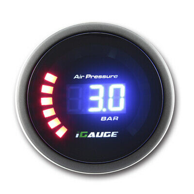 Air Pressure 52mm Suspension Gauge Blue LED Display Black Face BAR  Automotive