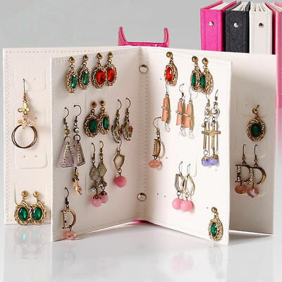 Women Jewelry Book Storage Bag Stud Earrings For Necklace Display Box Organizer