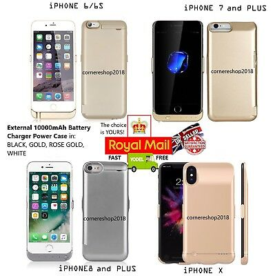 External 10000mAh Battery Charger Cover Power Case Pack Apple iPhone 6 6S 7 8 X