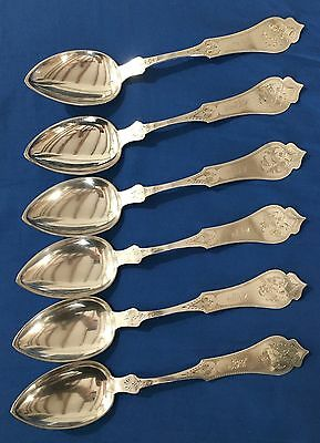 "6 Tablespoons 8.25"" David Kinsey Coin Silver Cincinnati Ohio Silversmith 1840-71"