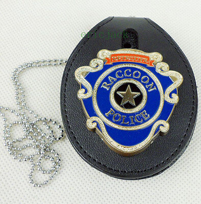 Resident Evil Raccoon Police Badge With Leather Badge Holder Chain-D809