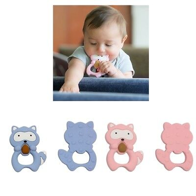 2Pcs Baby Teether Chew Teething Chewing Training Silicone Raccoon Toys