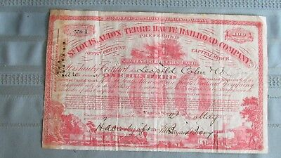 1882 St. Louis Alton Terre Haute Railroad Company Stock-Issued-Signed-100 Shares