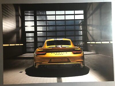 2018 Porsche 911 Turbo S Exclusive Coupe Showroom Advertising Sales Poster RARE!