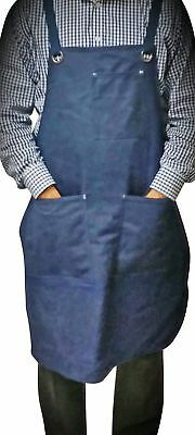 ProAprons - Heavy Duty Waxed Canvas Work Apron with Tool Pockets (Blue) ,... New