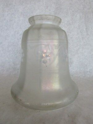 Antique Vintage Iridescent Acid Etched Glass Lampshade Frosted Satin Glass Shade