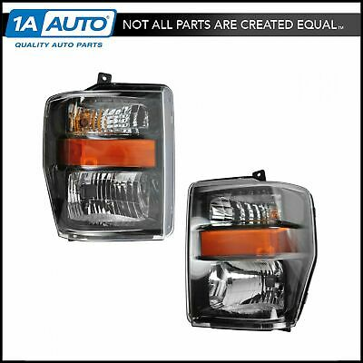 Composite Headlight Pair Set of 2 for 08-10 F250 F350 F450 Truck Harley Davidson