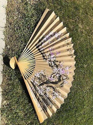 3' X 5' Chinese Oriental Handpainted Folding Paper Wall Fan Decor