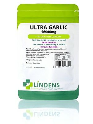 Ultra Cardio Garlic Huge 15000mg 120 capsules - Odourless Oil Softgels Allicin