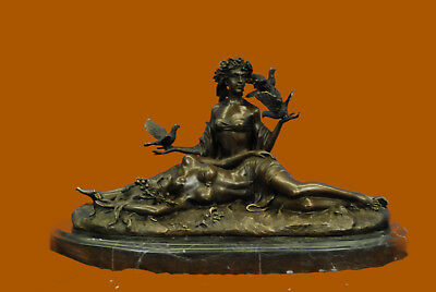 Genuine Bronze Metal Statue Stone Nude Women Lesbian Art Love Lovers Figurine
