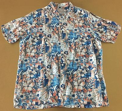 dda67a6b Margaritaville Mens Blue Silk Hawaiian Floral Palm Leaves Beach Aloha Shirt  XL