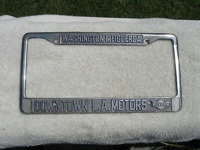 Metal Dealer Vintage License Plate Frame Downtown L.A. Motors Nissan Los  Angeles