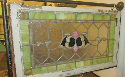 "Antique Victorian Stained Glass Window 36""W"