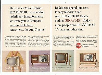 Vintage 1963 Magazine Print Ad RCA Victor Televisions 2 Page 7 3/8H X 5 1/4 VG