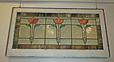 Antique Stained Glass Window Arts & Crafts Tulips Flowers Pair Available