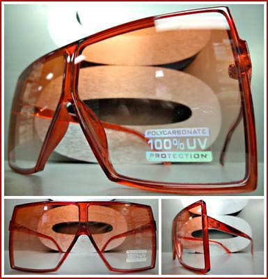 7507857a473 OVERSIZED VINTAGE RETRO SHIELD Style SUN GLASSES Large Square Red Frame    Lens