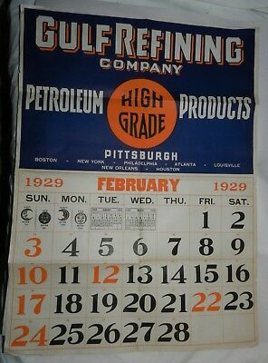 Vintage 1929 Gulf Refining Company Advertising Paper Poster Calendar - Petroleum