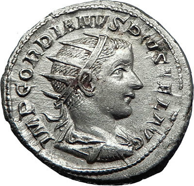 GORDIAN III with globe 240AD Rome Authentic Ancient Silver Roman Coin i70187