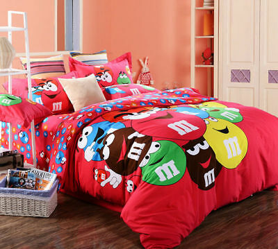 M & M Cartoon QUEEN SIZE Indian Red Color BED SHEET 4PCS COTTON Bedding SET