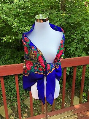 e08a320399 Russian Original Floral LARGE Blue/White/Green/Black Shawl Scarf Wool no  fringe