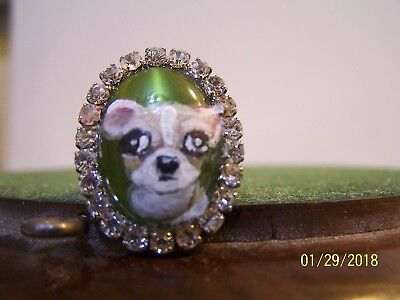 hand painted Chihuahua Rhinestone glass   ring,one size fits most