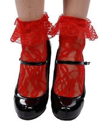 Leg Avenue Sexy Red Lace Anklets / Socks With Lace Ruffle Top One Size
