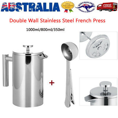 NEW INSULATED COFFEE PLUNGER SET 350ml 800ml 1000ml French Press Stainless