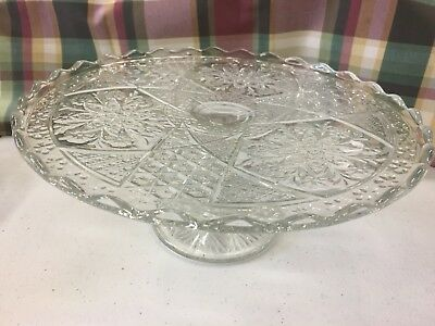 Antique Embossed Footed Cake Plate