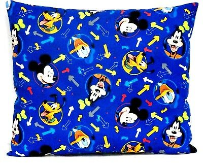 Mickey Mouse Toddler Pillow on Blue Cotton M21-12 New Handmade