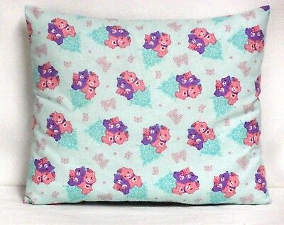 Care Bears Toddler Pillow on Aqua Blue Cotton CB13-8 New Handmade