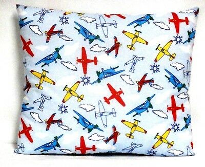 Airplanes Toddler Pillow on Blue Cotton AP12-5 New Handmade