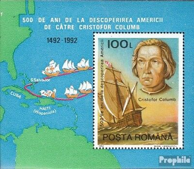 Romania block277 mint never hinged mnh 1992 Discovery of America