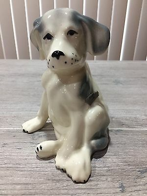 "Sitting Puppy Dog Pointer Figurine ""Mugsy""  Ceramic White Gray 5"" Tall"