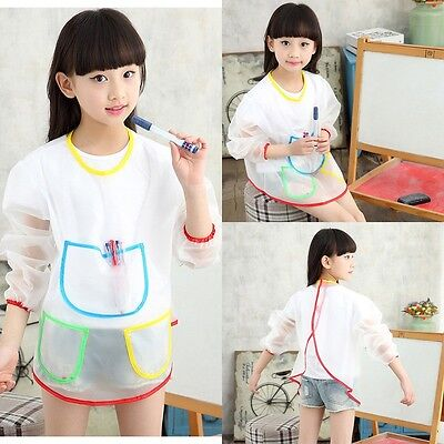 Waterproof Smock Long Sleeve Kids Painting Shirt Paint Apron Girl Boy School!