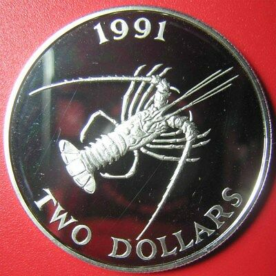 1991 BERMUDA $2 PROOF .84oz SILVER SPINY LOBSTER SEA LIFE RARE MINT=2,500 COINS!