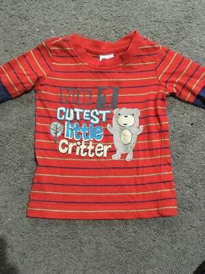 Baby Boys Long Sleeve Red Top Size 0 EUC