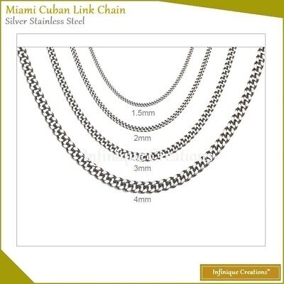 White Gold Stainless Steel Miami Cuban Link Chain Necklace 1.5mm~4mm