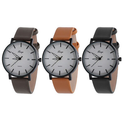 Luxury PU Leather Watch Band Analog Quartz Wrist Watches for Women Mens