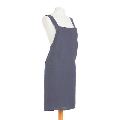 British Textile Co Linen Crossover Denim Kitchen Apron-100% Linen-Made in the UK
