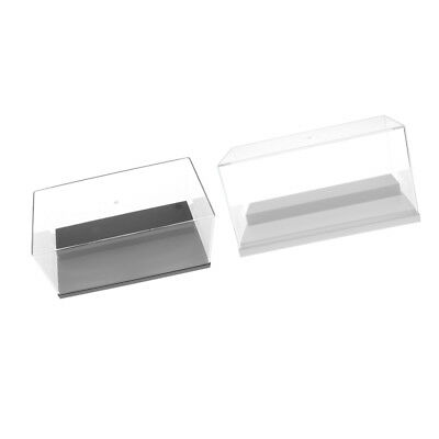 2x Clear Perspex Acrylic Display Box Case w/ Base 2 Step Dustproof Car Doll
