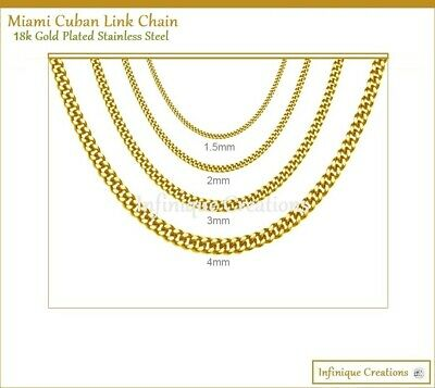 Men Women Stainless Steel-Gold Miami Curb Cuban Link Chain Necklace 1.5mm~4mm
