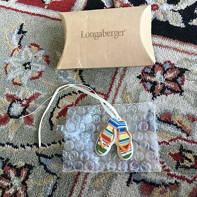 LONGABERGER FLIP FLOP TIE ON Sandal New In Box Sunny Day Stripe